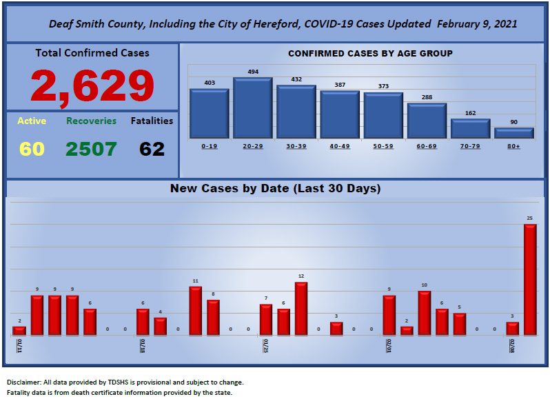 COVID-19 cases as of February 9, 2021